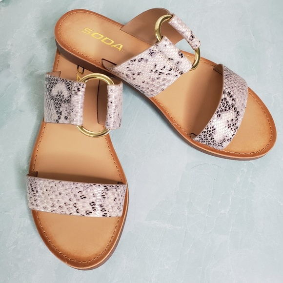 Soda Shoes - NEW Soda Double Strap Python Sandals